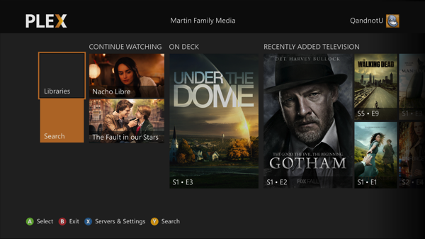 plex on the xbox one and xbox 360 plex