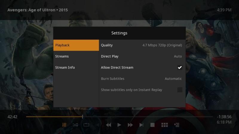 Plex for Roku Movie Settings