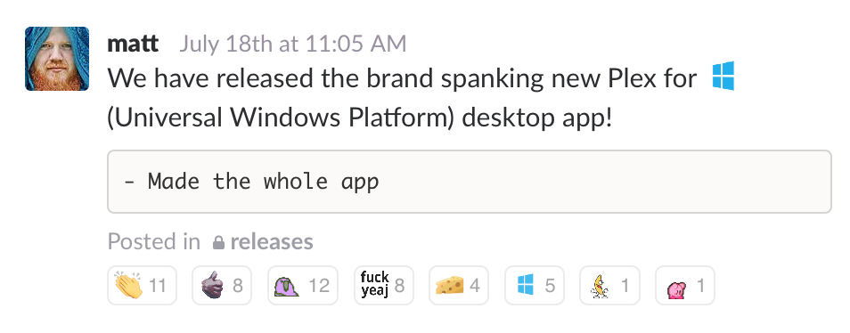 Slack notice for launch of Plex for Windows Universal App